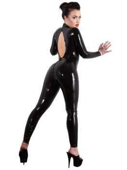 Latexový catsuit s výstřihem na zádech – Latexové oblečení pro ženy