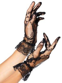 Krátké krajkové rukavice s volánkem Leg Avenue – Sexy rukavice a návleky na ruce