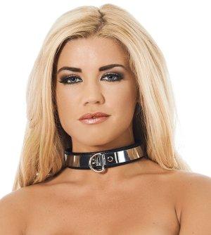 Úzký okovaný kožený obojek se zámkem Rimba – Obojky a vodítka pro BDSM hrátky
