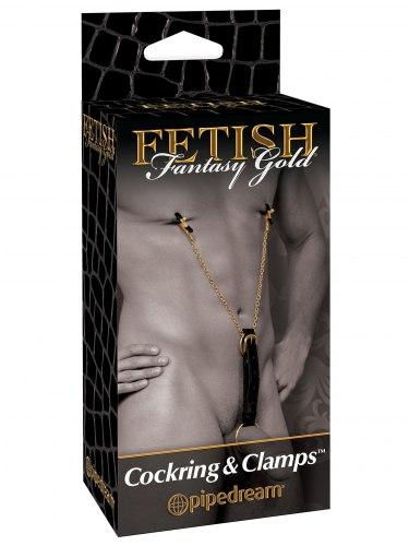 Svorky na bradavky s kroužkem na penis Fetish Fantasy Gold