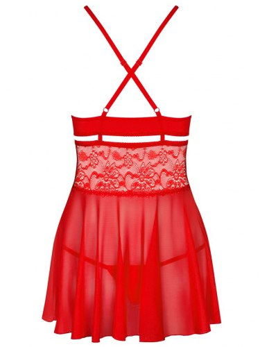 Průsvitný červený babydoll s krajkou + tanga Obsessive