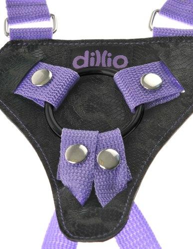 """Dildo Dillio Slim 7"""" + růžový postroj s ramenními popruhy"""