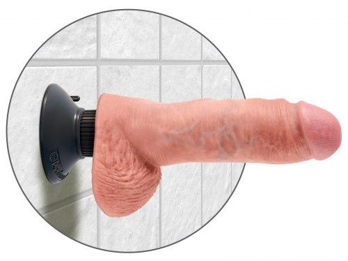 """Tvarovatelný vibrátor s varlaty a odnímatelnou přísavkou King Cock 8"""""""