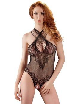 Síťované body s krajkou a otevřeným rozkrokem – Sexy dámská body
