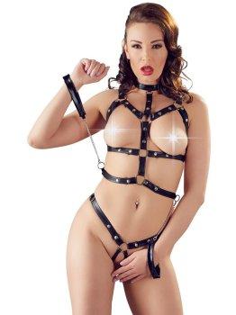 Řemínkový set prádla s pouty Bad Kitty – Fetiš a BDSM oblečení a postroje