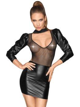 NOIR Lesklé minišaty s nabíranými rukávy – Dámské sexy šaty a minišaty