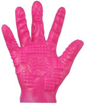 Masturbační rukavice se stimulačními výstupky - růžová – Stimulátory bez vibrací pro ženy