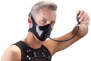 Latexový roubík - maska s nafukovacím dildem – BDSM náhubky (masky na ústa)
