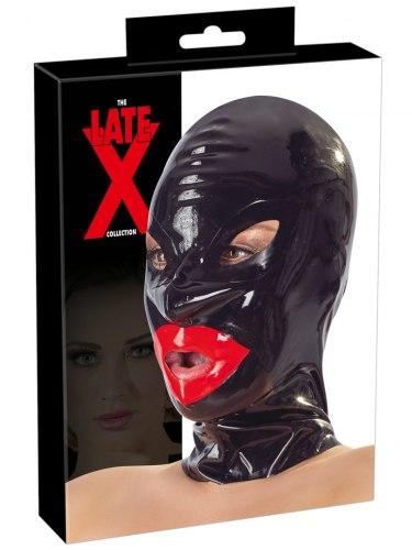 Latexová maska se zipem a červenými rty LateX, unisex
