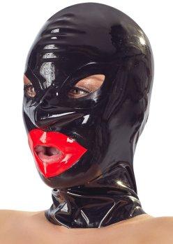 Latexová maska se zipem a červenými rty LateX, unisex – Latexové masky