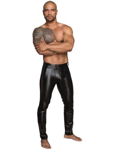 NOIR Lesklé pánské kalhoty s průsvitnými vsadkami