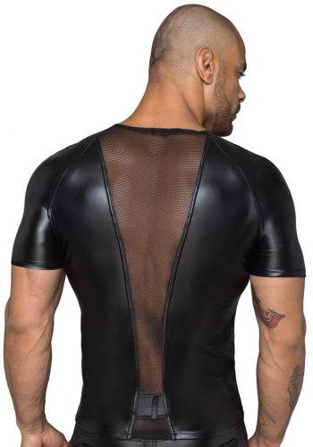NOIR Lesklé pánské tričko s průsvitnými vsadkami