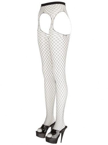 Síťované punčochové kalhoty s velkým otvorem v rozkroku