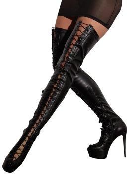 Vysoké kozačky na podpatku se šněrováním Cottelli Collection – Erotické boty