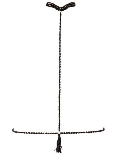 Černý perlový obojek s bikini řetízkem