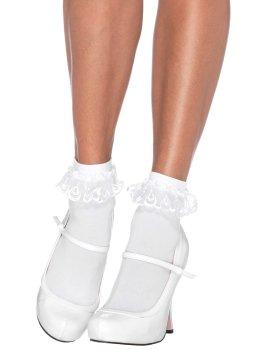 Bílé kotníčkové ponožky s krajkovými volánky – Dámské ponožky a podkolenky
