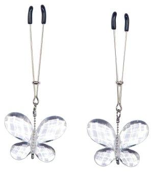 Svorky na bradavky s motýlky Bad Kitty – Skřipce a svorky na bradavky, klitoris a stydké pysky