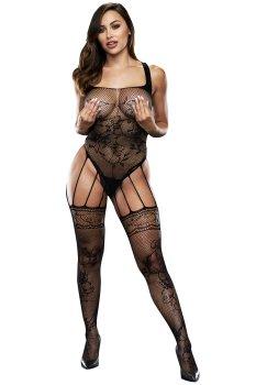 Svůdný síťovaný top s výšivkou a punčochami (catsuit) – Dámské catsuity a overaly