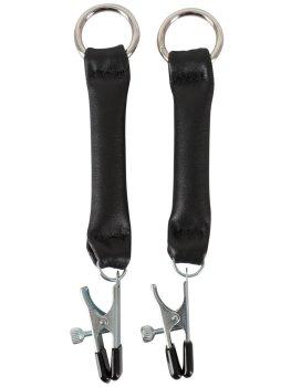 Svorky na bradavky s koženými pásky ZADO – Skřipce a svorky na bradavky, klitoris a stydké pysky