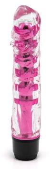 Transparentní vibrátor, tmavě růžový – Vibrátory na bod G