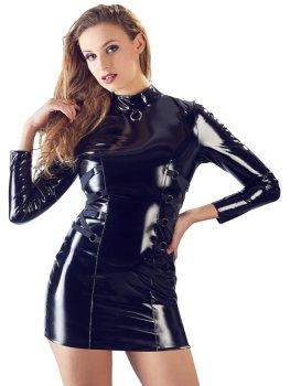 Lakované minišaty s dlouhým rukávem a ozdobným šněrováním – Lakované šaty