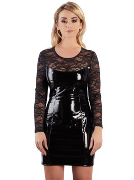 Lakované minišaty s krajkou a dlouhými rukávy – Lakované šaty