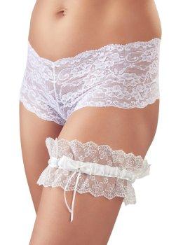 Bílý krajkový podvazek s mašličkou – Vzrušující dámské podvazkové pásy a podvazky