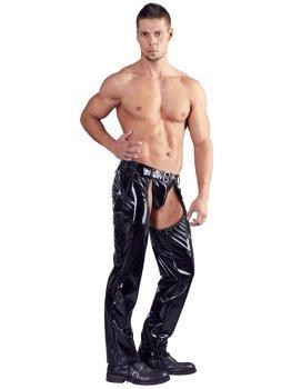 Lakované pánské kalhoty s velkým otvorem v rozkroku + tanga – Pánské kalhoty a legíny