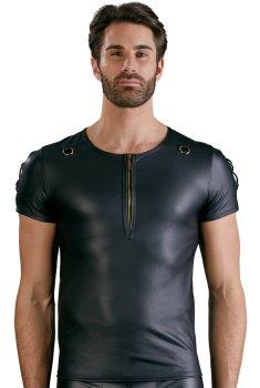 Lesklé pánské tričko se zipem a ozdobným šněrováním NEK – Pánská trička a tílka