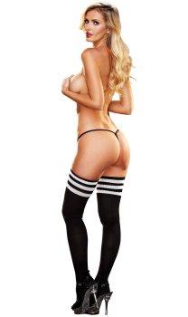 Vysoké pletené černé nadkolenky s bílými pruhy Lapdance – Samodržicí dámské punčochy