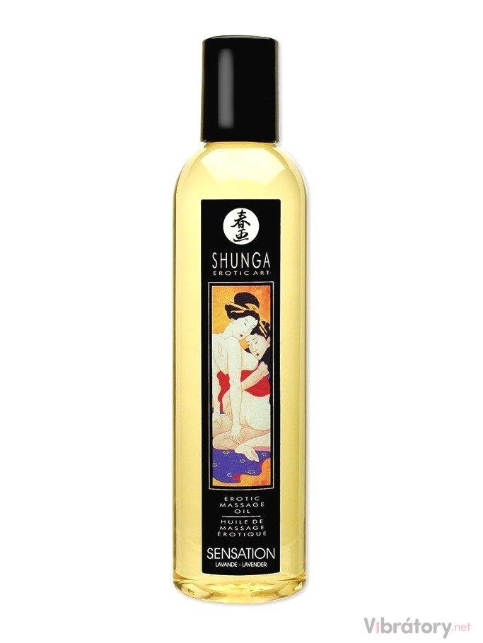 Erotický masážní olej Shunga Sensation Lavender, 250 ml