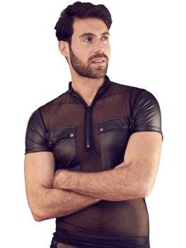 Lesklé pánské tričko se zipem, kapsami a průsvitnou vsadkou NEK – Pánská trička a tílka