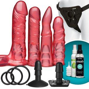 Sada dild, harnesu a příslušenství Vac-U-Lock Crystal Jellies – Připínací penisy