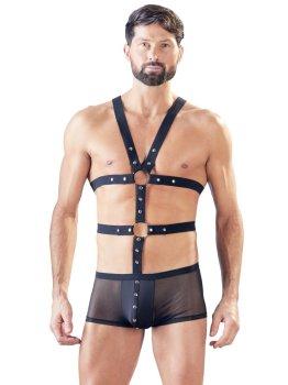 Průsvitné boxerky s páskovým postrojem – BDSM prádlo