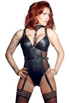 Kožené body s podvazky a obojkem ZADO – Sexy dámská body