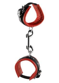 Kožená pouta na ruce, červená – Pouta, lana a pomůcky pro bondage