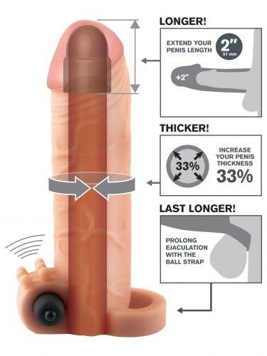 Návlek na penis - vibrační, prodlouží o 5,1 cm
