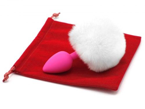 Anální kolík králičí ocásek, bílý