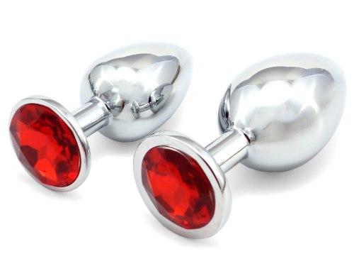 Anální kolík se šperkem, červený