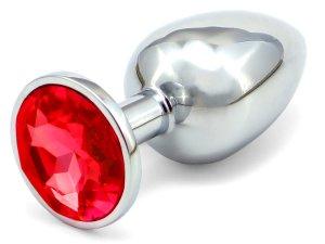 Anální kolík se šperkem, červený – Anální šperky