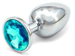 Anální kolík se šperkem, světle modrý – Anální šperky