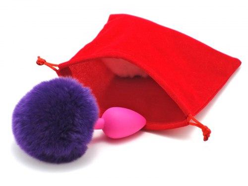 Anální kolík králičí ocásek, fialový