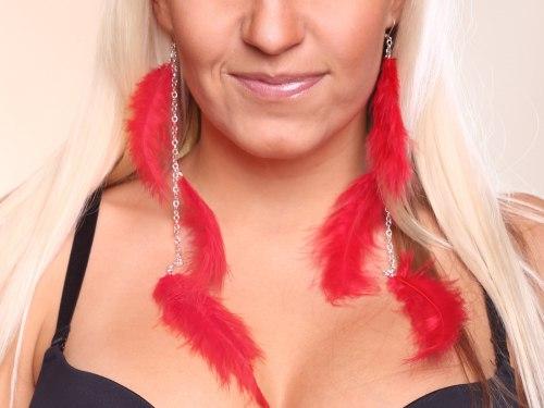 Peříčkové náušnice, červené