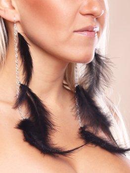 Peříčkové náušnice, černé – Vzrušující intimní šperky, ozdoby a bižuterie