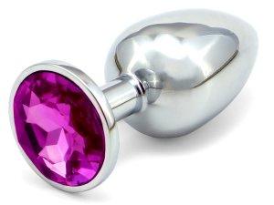 Anální kolík se šperkem, tmavě fialový – Anální šperky