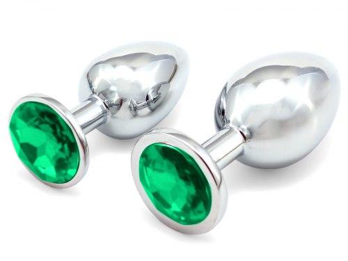 Anální kolík se šperkem, tmavě zelený