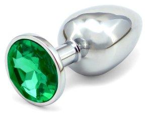 Anální kolík se šperkem, tmavě zelený – Anální šperky