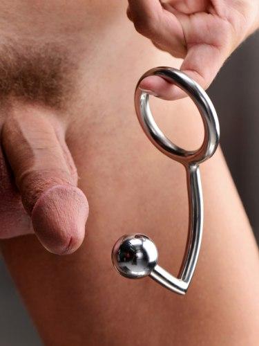 Anální hák s kroužkem na penis/varlata