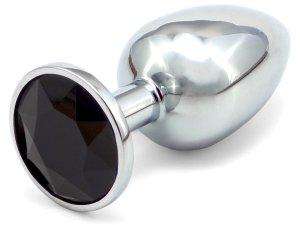 Anální kolík se šperkem, černý – Anální šperky