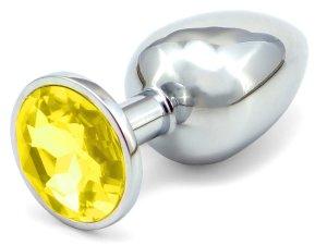 Anální kolík se šperkem, žlutý – Anální šperky